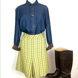 ANN TAYLOR LOFT Wool Plaid Skirt Green/Blue 12